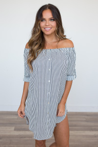 Off the Shoulder Pinstripe Shirt Dress - Navy/White