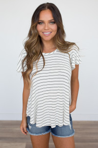 Lace Up Back Striped Knit Top - White/Black