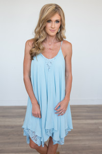 Lace Hem Asymmetrical Dress - Sky Blue - FINAL SALE