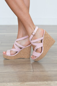 Chloe Cork Platform Wedge - Pink