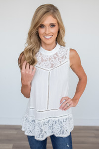 Sleeveless High Neck Lace Detail Blouse - White