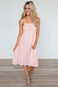 Midsummer Night's Dream Lace Midi Dress - Pink - FINAL SALE