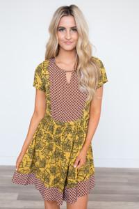 Golden Grove Mixed Print Dress - Mustard Multi