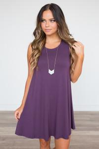 Sleeveless Knit Cutout Back Dress - Plum