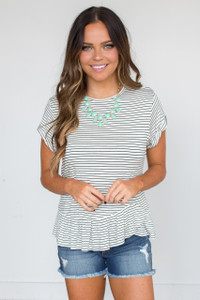 Striped Cuff Sleeve Ruffle Hem Tee - White/Black