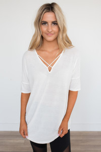 Criss Cross Front Knit Tunic - Off White