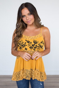 Embroidered Lace Tiered Cami - Honey/Black