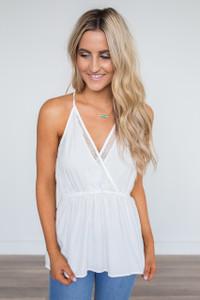V-Neck Lace Detail Cami- White