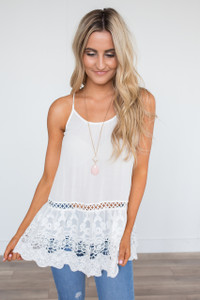 Lace & Grace Sleeveless Tunic - White