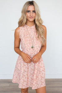 Sunday Best Sleeveless Pintuck Floral Dress - Coral
