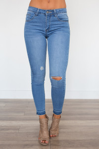 Wild & Free Destructed Skinny Ankle Jeans - Light Wash - FINAL SALE