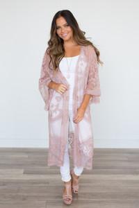 Floral Lace Midi Kimono - Rose