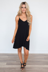 Sleeveless Ribbed Knit Dress - Black
