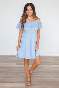 Off the Shoulder Crochet Ruffle Dress - Arctic Blue