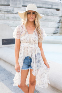 Floral High Low Boho Blouse - Cream