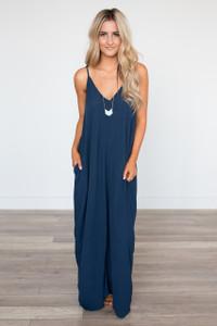 Mila Solid Pocket Maxi Dress - Dark Navy