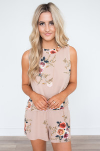 Layered Open Back Floral Romper - Taupe