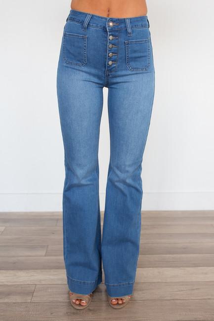 High Waisted Button Bell Bottom Jeans - Medium Wash