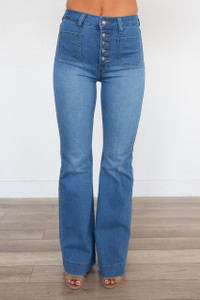High Waisted Button Bell Bottom Jeans - Medium Wash
