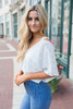 Wish Upon a Star Cold Shoulder Cropped Blouse- Ivory/Gold - FINAL SALE