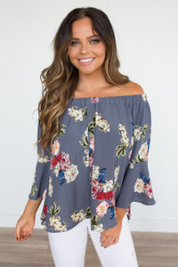 Hawaiian Paradise Off the Shoulder Blouse - Grey