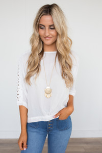 3/4 Crochet Sleeve Detail Blouse - Off White