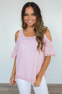 Lace Trim Cold Shoulder Blouse - Light Pink