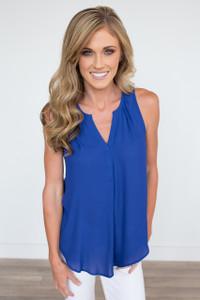 Solid Sleeveless V-Neck Blouse - Royal Blue