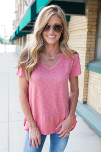 V-Neck Solid Contrast Hem Burnout Tee - Papaya