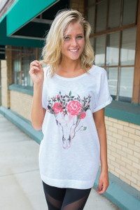 Flower Crown Bull Skull Graphic Tunic - White