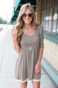 Fit & Flare Crochet Hem Dress - Heather Mocha