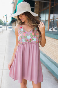 Floral Embroidered Pom Dress - Mauve