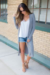 Everly Ribbed Cutout Long Cardigan - Heather Charcoal