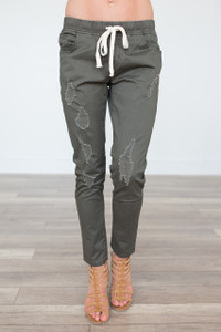 Drawstring Distressed Joggers - Olive