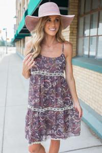 Paisley Print Crochet Tiered Dress - Plum Multi