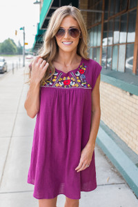Floral Embroidered Linen Dress - Berry