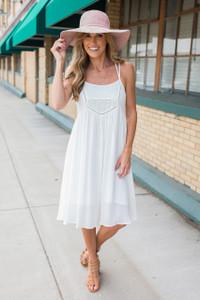 Midsummer Night's Dream Lace Midi Dress - White