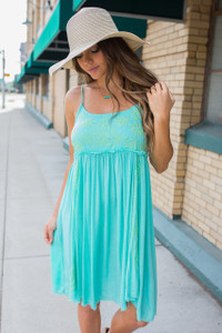 Embroidered Frayed Hem Dress - Aqua/Yellow