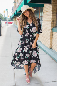 Floral Print High Low Maxi Dress -Black