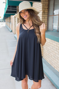 Downtown Darling Strap Detail Dress - Black