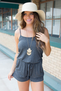 Arcadia Solid Drawstring Romper - Charcoal - FINAL SALE