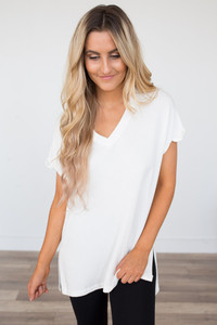 V-Neck Rolled Cuff Tee - Ivory
