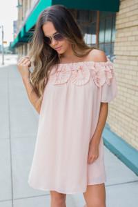 Ruffle Off the Shoulder Dress - Peach