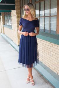 Off the Shoulder Tulle Tea Length Dress - Navy