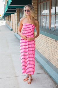 Strapless Striped Maxi Dress - Neon Pink/Red - FINAL SALE