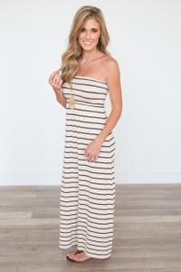 Strapless Striped Maxi Dress - Beige/Brown