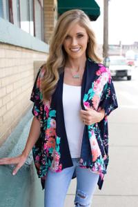 Crazy Daisy Knit Kimono - Navy Multi