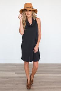 Everly Sleeveless Cowl Neck Dress - Faded Black