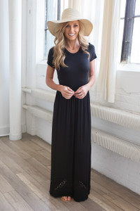 Short Sleeve Cutout Hem Maxi Dress - Black
