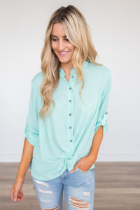 Button Down Roll Tab Knot Blouse - Mint